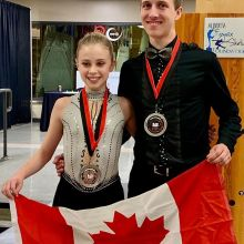 Congratulations  to Team Sask Novice Pairs, Ashlyn Schmitz and Tristan Taylor of Skate Regina, on their silver medal at the North American Cup. This is their first International competition! We're proud of you! #skskate #internationalcompetition #NAC20